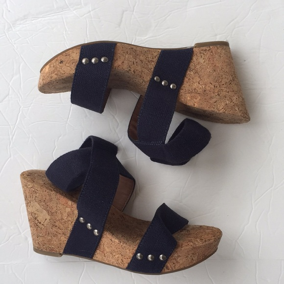 7ff8c9c550b Lucky brand marinah cork navy canvas strap wedges
